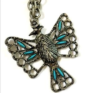PHOENIX Bird turquoise silver necklace